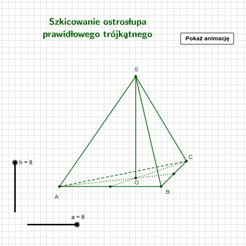 Szkicowanie ostrosłupa prawidłowego trójkątnego Naciśnij klawisz Enter, aby rozpocząć aktywność
