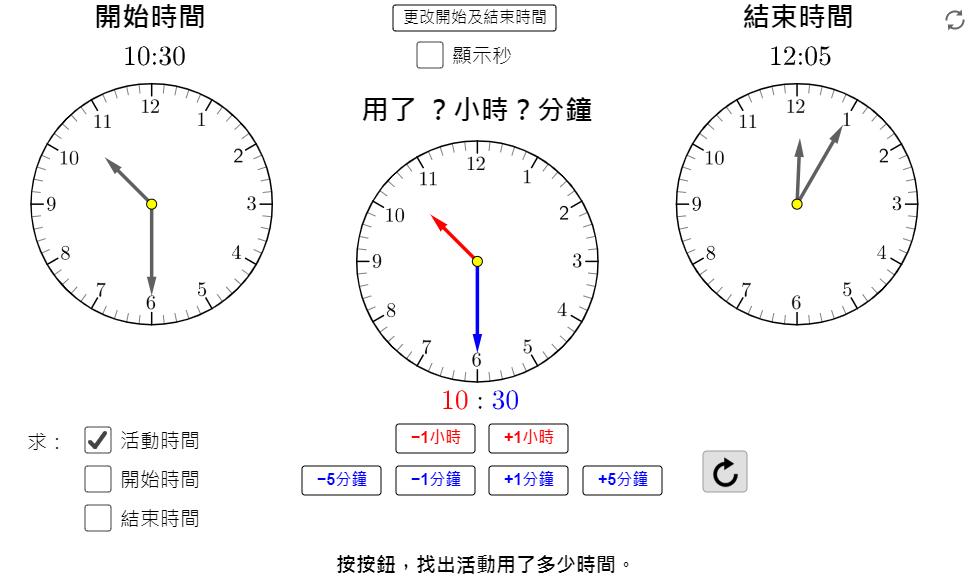 量度活動所用的時間 (時、分)