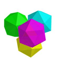 4 Icosahedron, 1 Tetrahedron