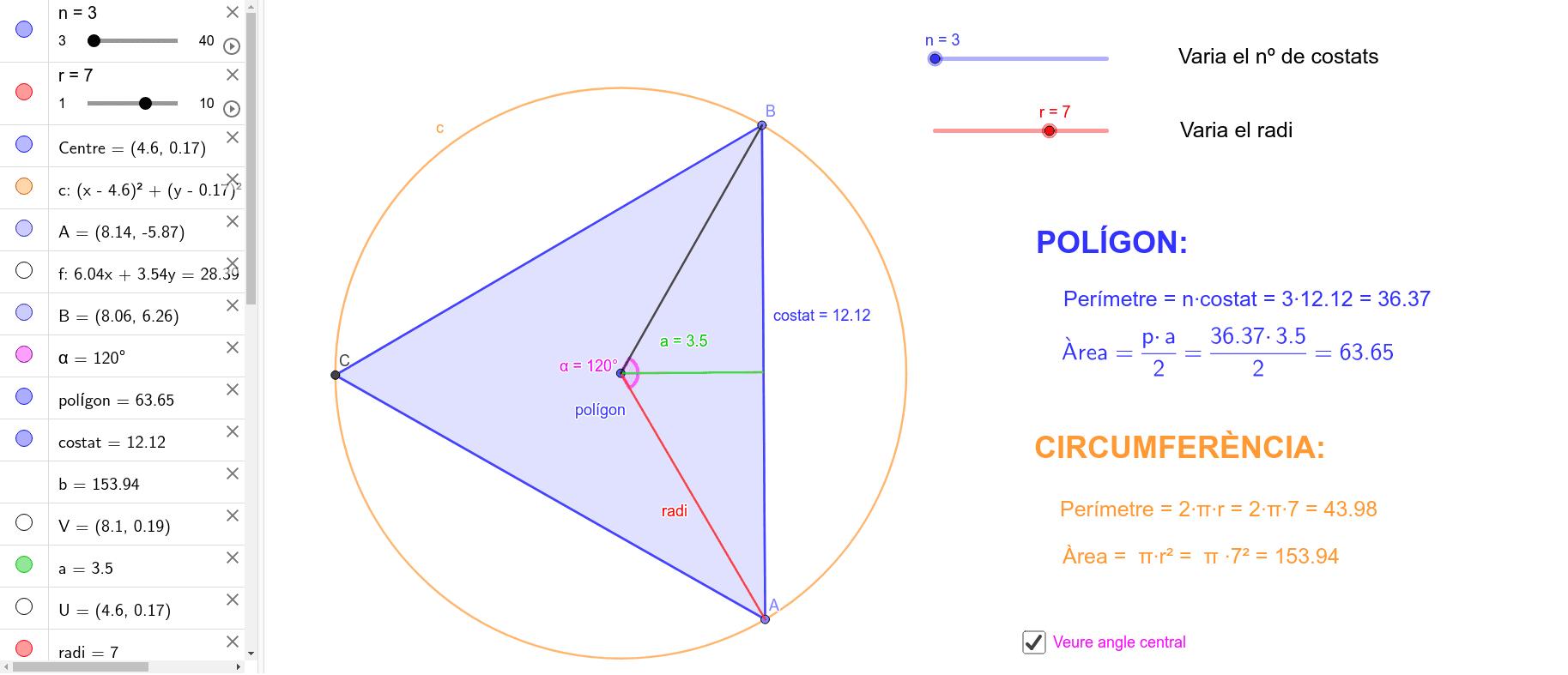 Per trobar l'àrea d'un polígon regular podem descomposar-lo amb tants triangles com costats té el polígon. Aquests triangles tenen com a base el costat del polígon i com a altura l'apotema.  Press Enter to start activity