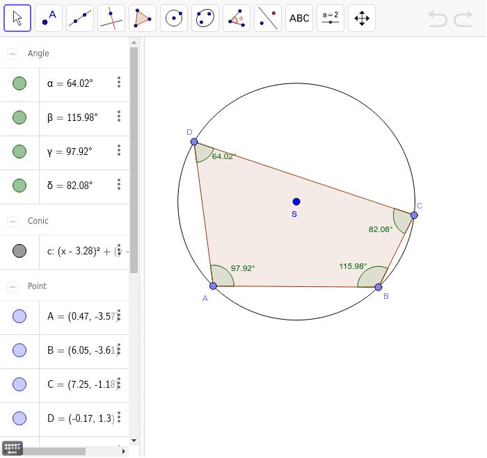 Preskúmajte vzťahy medzi veľkosťami vnútorných uhlov v konkrétnych typoch tetivových štvoruholníkov, ktorým možno opísať kružnicu.