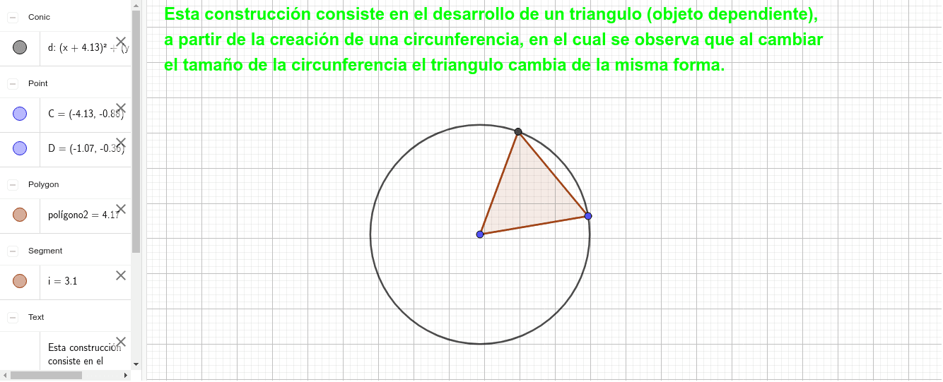 Triángulo equilátero cuyos vértices sean O y dos puntos de la circunferencia. Presiona Intro para comenzar la actividad
