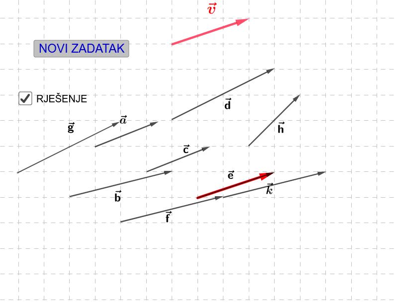 Odredite vektore jednake vektoru v. Pritisnite Enter za pokretanje.
