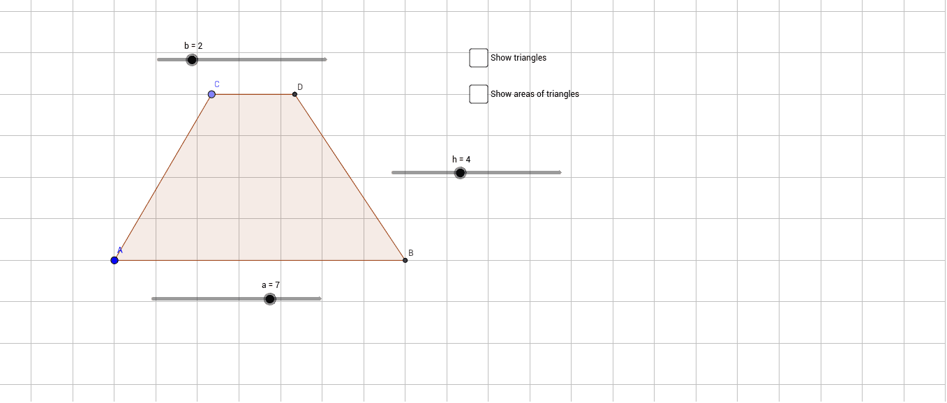 Drag point C. Drag slides a, b, and h.  Find the area of the trapezium by splitting it into two triangles. Press Enter to start activity