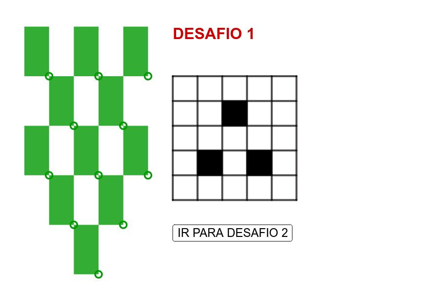 Os desafios abaixo apresentam 3 tabuleiros com buracos (representados por quadrados pretos). Em qual (quais) deles é possível cobrir os quadrados brancos restantes com os dominós verdes?