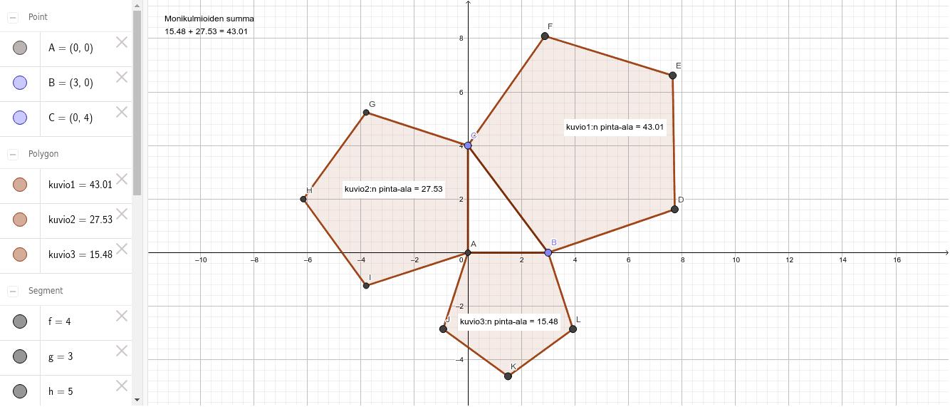 Tehtävä 4.5.1 Suorakulmainenkolmio ja 5-kulmiot sivuille