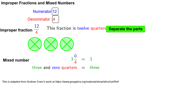 Improper Fractions and Mixed Numbers Press Enter to start activity