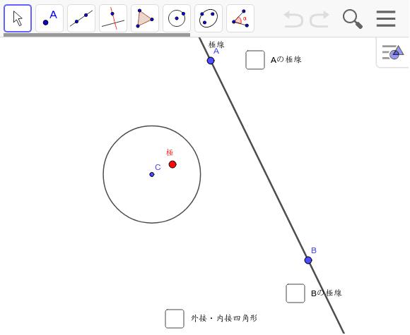 自由な直線(極線)の極を求める。(直線をつまんで直接動かすことができます) ワークシートを始めるにはEnter キーを押してください。