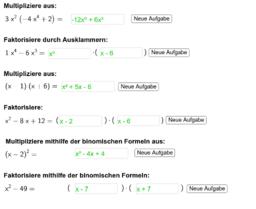 Aufgabengenerator Faktorisieren und Ausmultiplizieren