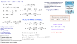 Informações sobre função quadrática