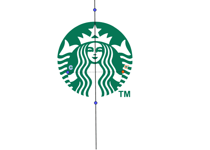 Does the Starbucks logo have symmetry across the vertical line? Press Enter to start activity