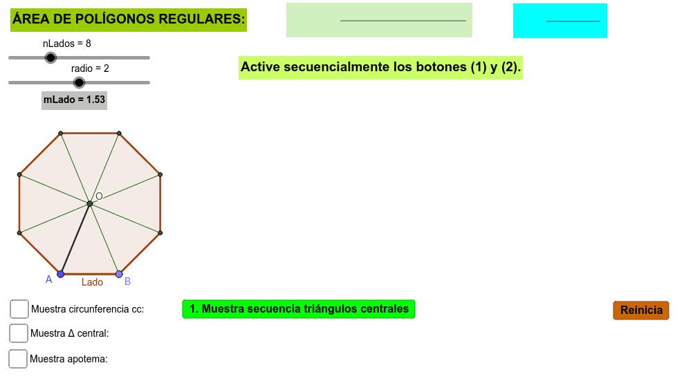 Aplicativo para analizar el área de un polígono regular y su fórmula matemática  Presiona Intro para comenzar la actividad