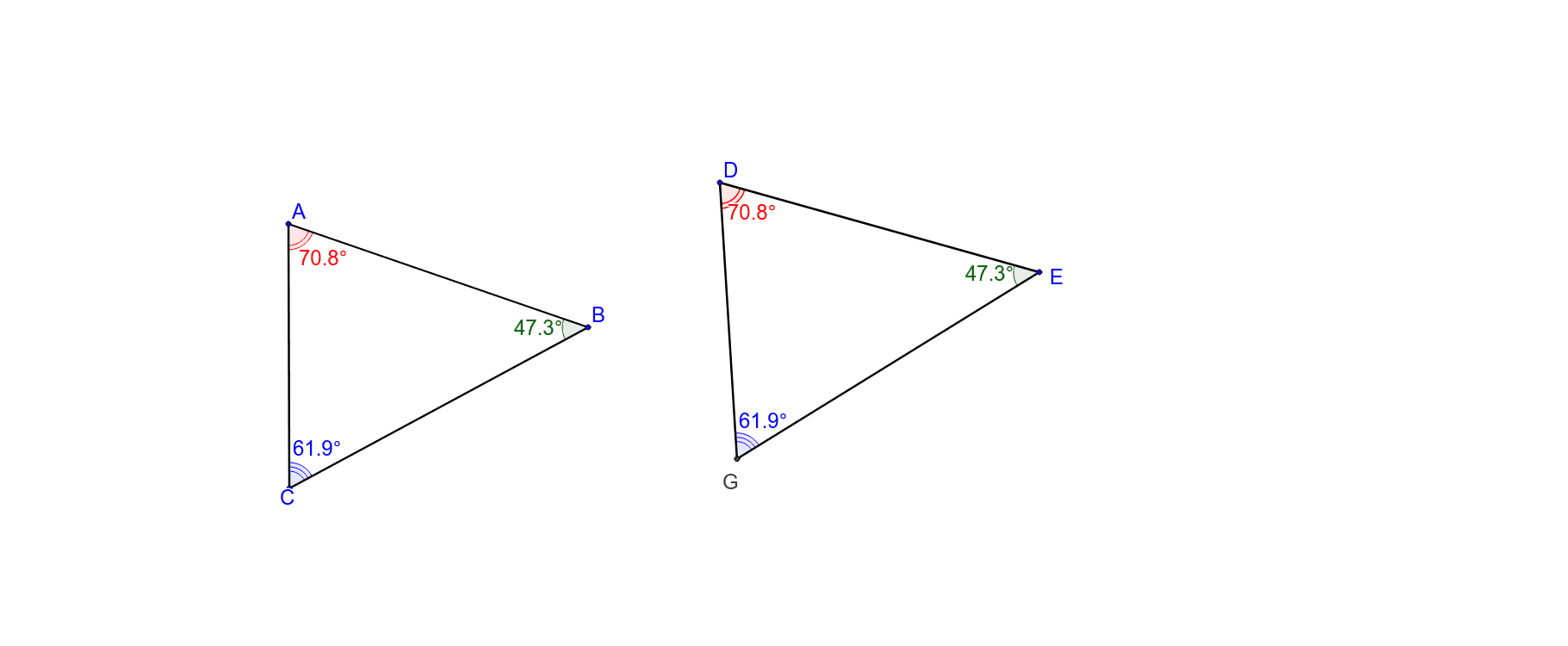 All 3 angles are the same. Always congruent? Press Enter to start activity