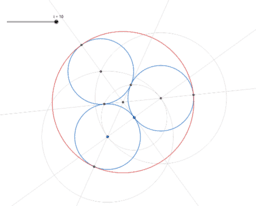 Constructing a circle (big) around three circles (small)
