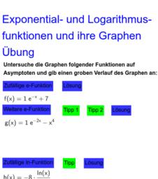 Exponential- und Logarithmusfunktionen und ihre Graphen