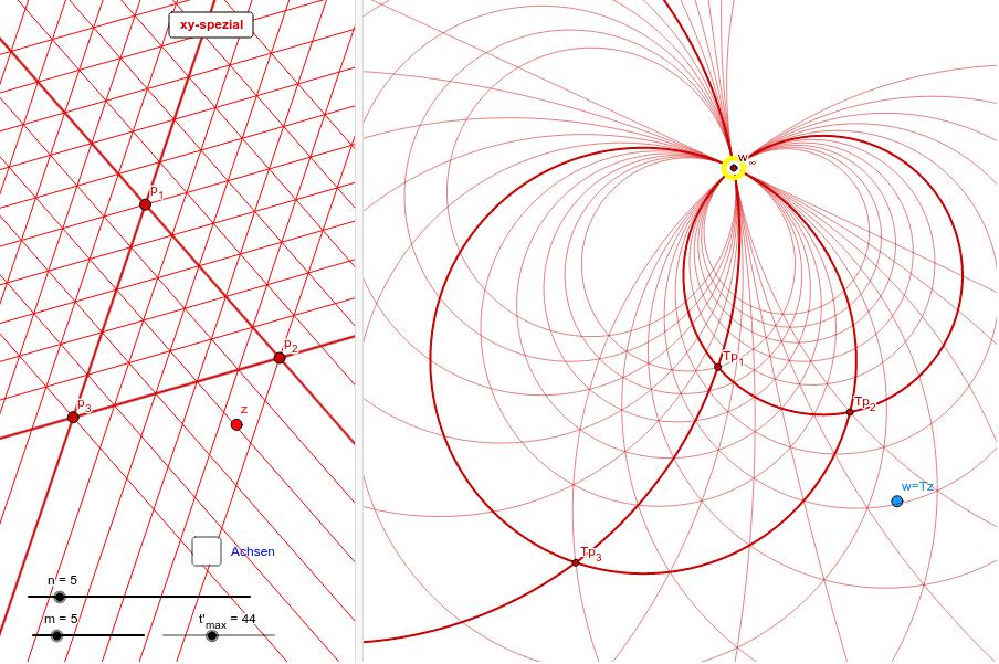 z - Ebene        →  →  →  →  →            z ↦  w = Tz = (a*z+b)/(c*z+d)       →  →  →  →  →  →        w - Ebene Drücke die Eingabetaste um die Aktivität zu starten