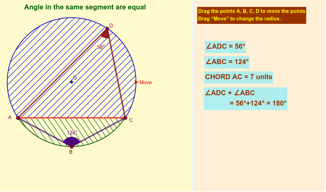 Angle in a segment Press Enter to start activity