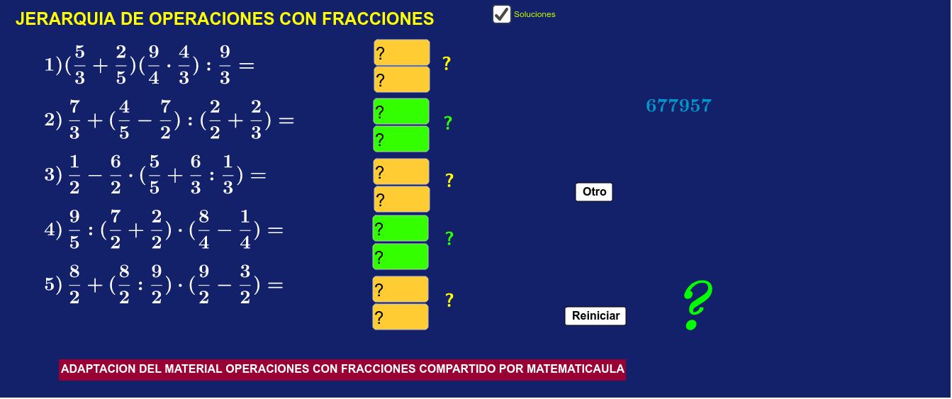Jerarquia de operaciones con fracciones
