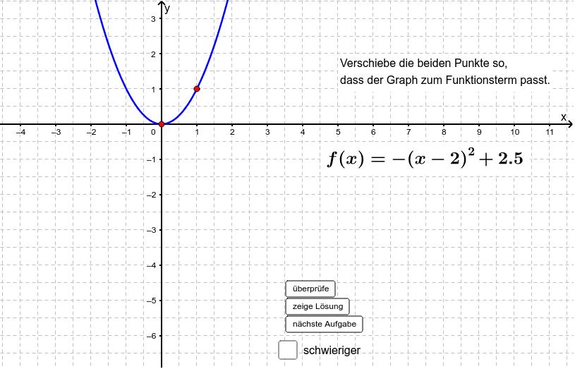 Scheitelform einer Parabel gegeben / Zwei Schwierigkeitsgrade / Scheitelpunkt und weiterer Graphenpunkt können verschoben werden. Parabeln mithilfe von 2 Punkten zeichnen - Link unten! Drücke die Eingabetaste um die Aktivität zu starten