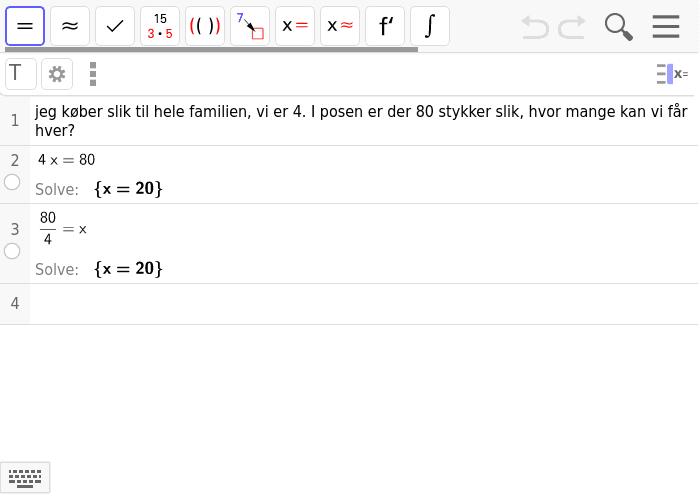 regnehistorier som ligninger, skriv gerne flere muligheder hvis du kan!