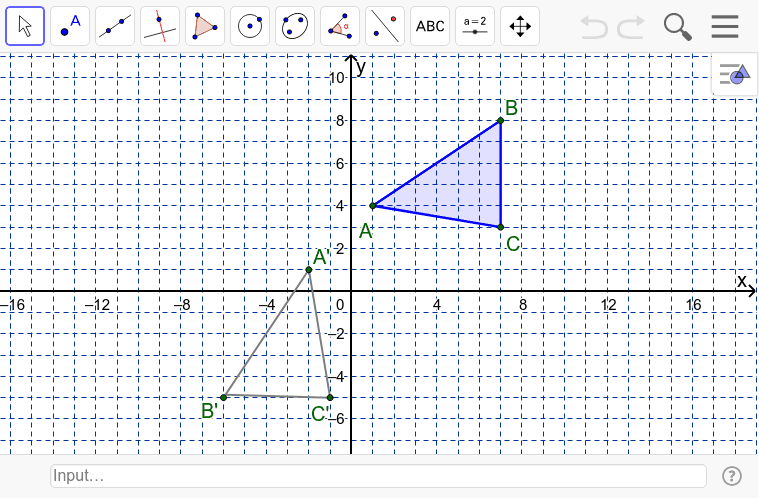 Use the input bar to enter the equation of the line of symmetry that map ABC onto A'B'C'.