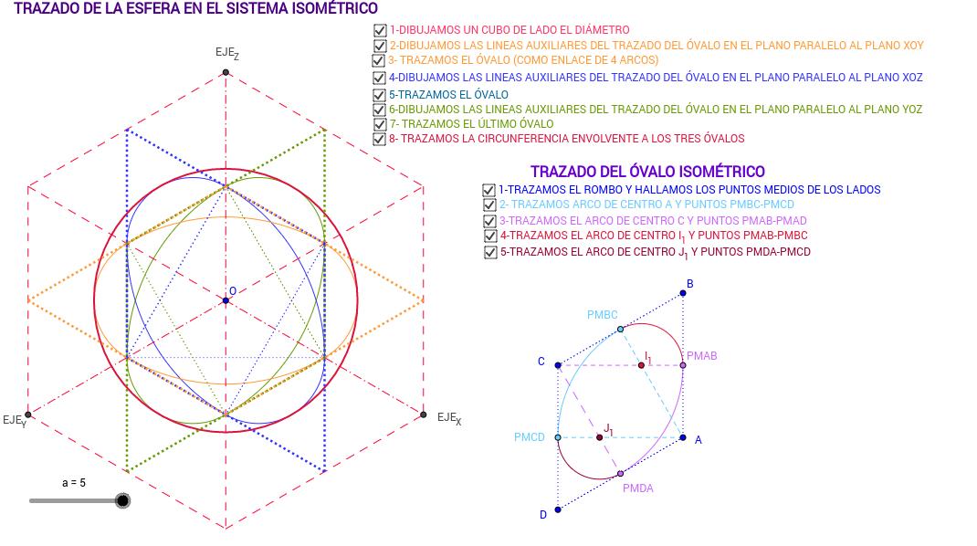 Trazado de la Esfera en el Sistema Isométrico