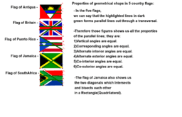 Country flags with geometrical properties