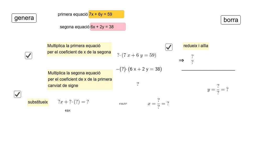 resolució de sistemes de dues equacions per reducció Premeu Enter per iniciar l'activitat