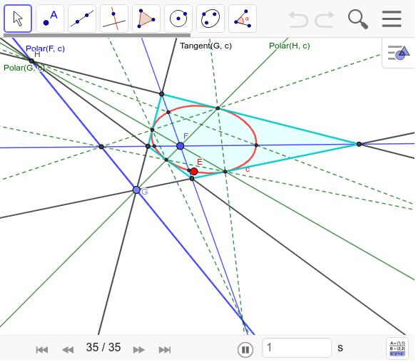 下のナビゲーションで作図の仕方を確かめよう。この外接四角形を外接チェバ四角形と名づける。 ワークシートを始めるにはEnter キーを押してください。