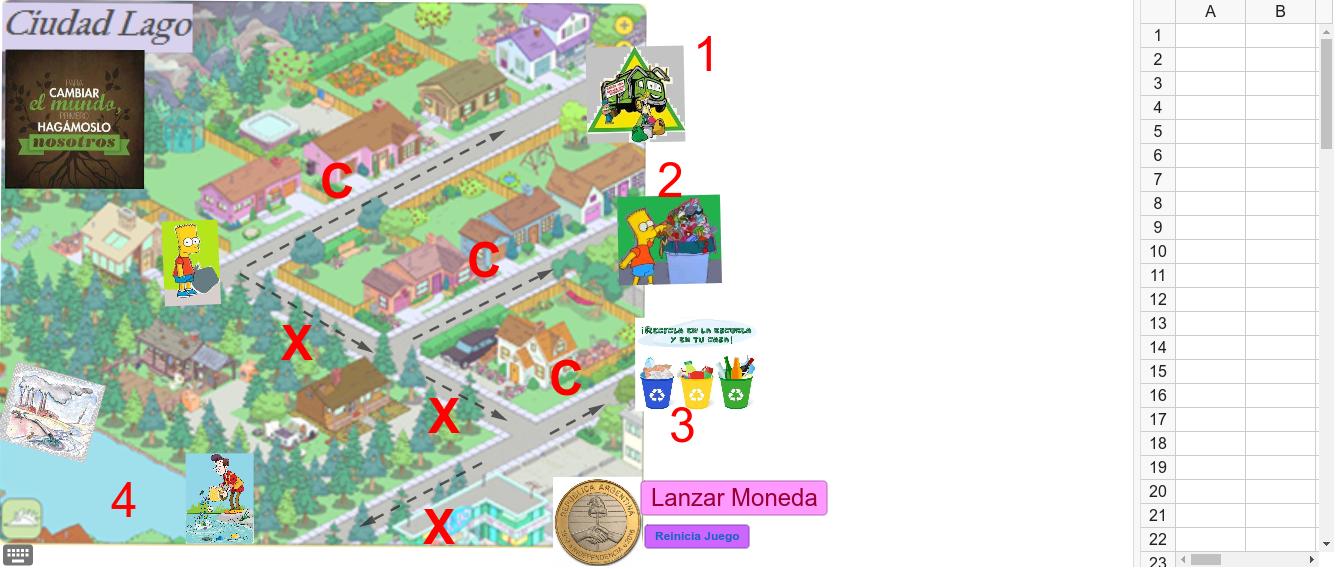 Al lanzar la moneda se visualiza el recorrido que realiza Bart para arrojar su basura. Cada vez que el personaje llega a destino, se vuelcan los datos aleatorios obtenidos en la hoja de cálculo. Se reinicia el juego para un nuevo recorrido. Presiona Intro para comenzar la actividad