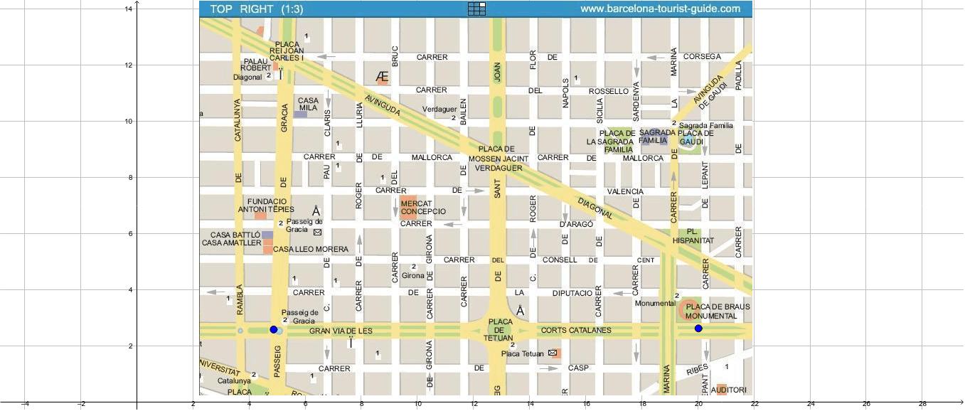 Mappa per studiare le rette parallele e perpendicolari; angoli e segmenti.