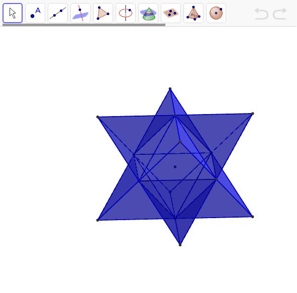 正8面体の面を延長してできる星型多面体。ケプラーが発見。ただしこれは星型の正多面体には入れない。その理由は? ワークシートを始めるにはEnter キーを押してください。