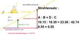 Strahlensatz - Pyramidenhöheberechnung nach Thales von Milet