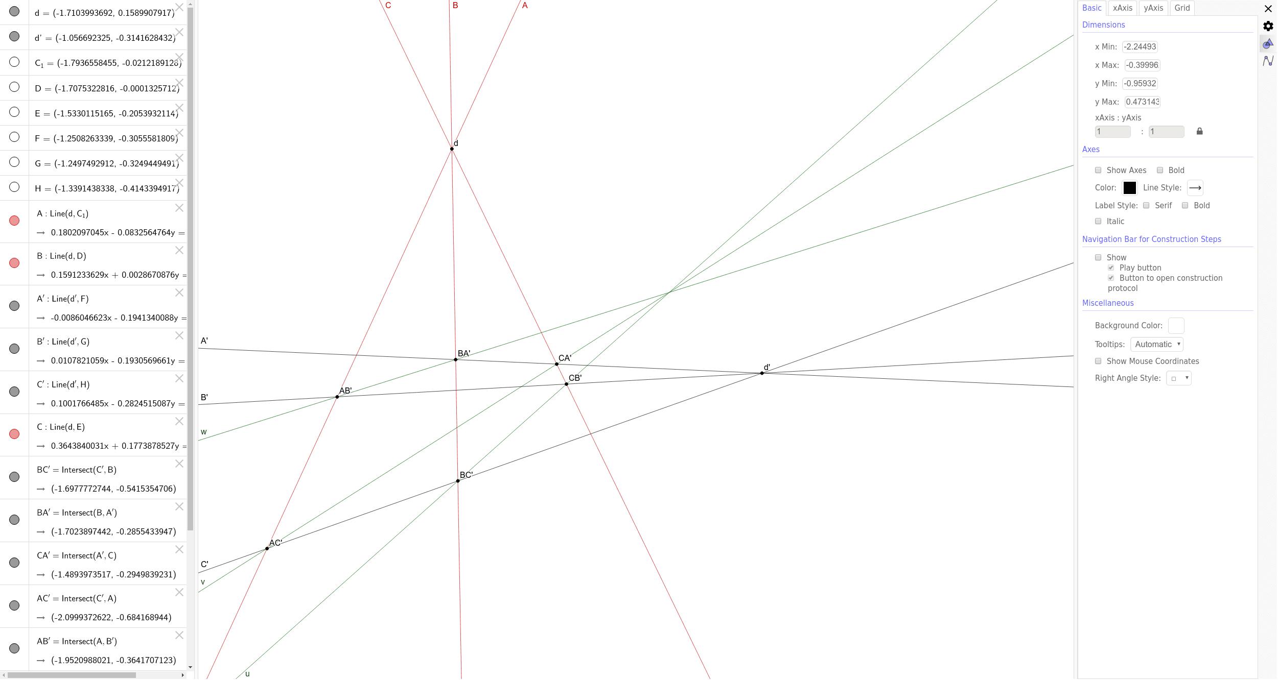 Théorème de Brianchon (Cas dégénéré) est le dual du théorème de Pappus.