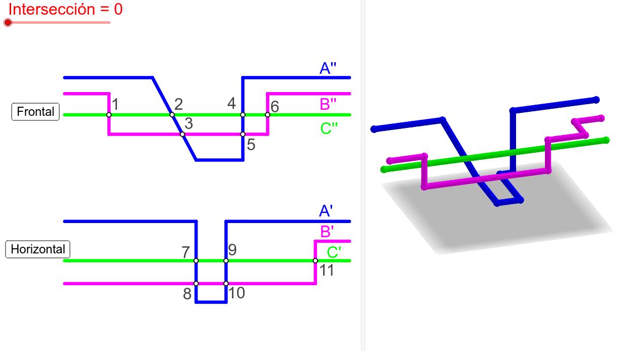 Determinar la visibilidad del conjunto de líneas poligonales, representado en sistema diédrico, para cada punto de intersección aparente (1 a 11). Presiona Intro para comenzar la actividad