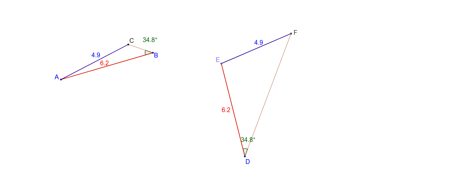 2 corresponding sides of the same length and the same corresponding angle not between them. Always congruent? Press Enter to start activity
