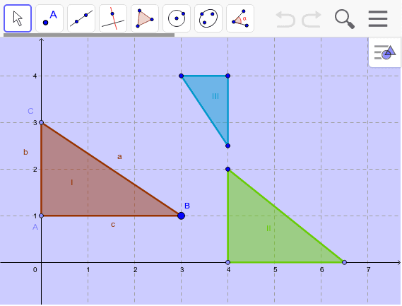 3. Bei welchen Dreiecken stimmen die Winkel und die Seitenverhältnisse überein? Drücke die Eingabetaste um die Aktivität zu starten