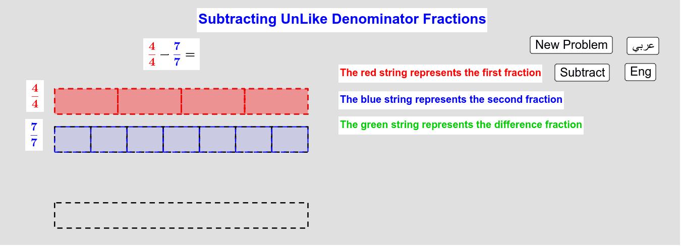 Subtracting UnLike Denominators Fractions        طرح الكسور من مقامات مُختلفة
