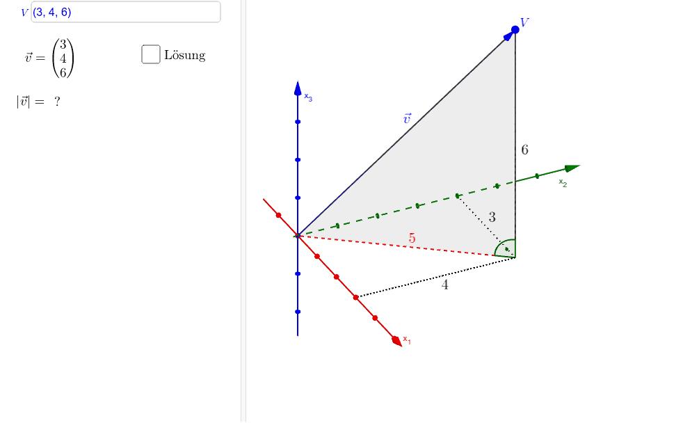 Berechne die Länge des dargestellten Vektors. Drücke die Eingabetaste um die Aktivität zu starten