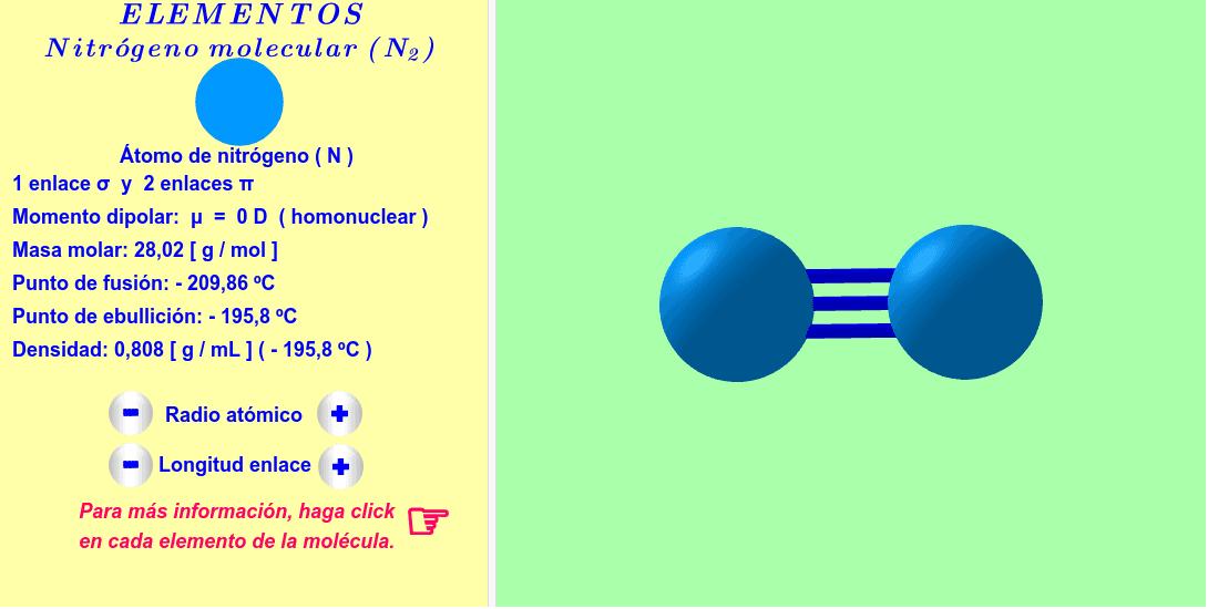 Molécula interactiva de nitrógeno molecular . Los radios atómicos y las longitudes de los enlaces se pueden variar. Para más informaciones, haga click en cada átomo y enlace de la molécula.