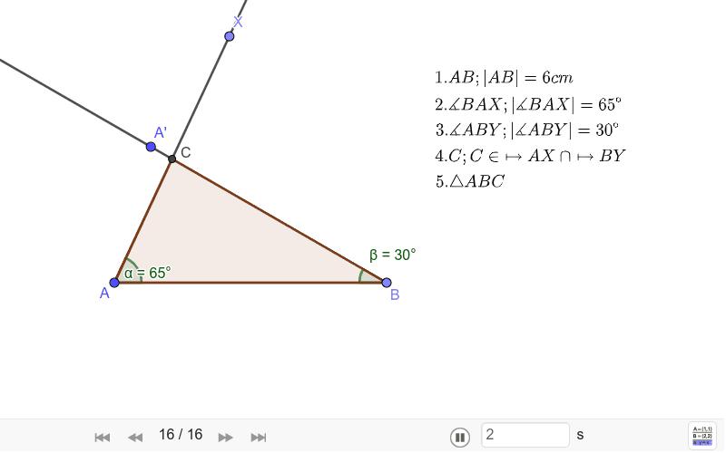 Narýsujte trojúhelník ABC, c = 6cm, α = 65° , β = 30° Zahajte aktivitu stisknutím klávesy Enter