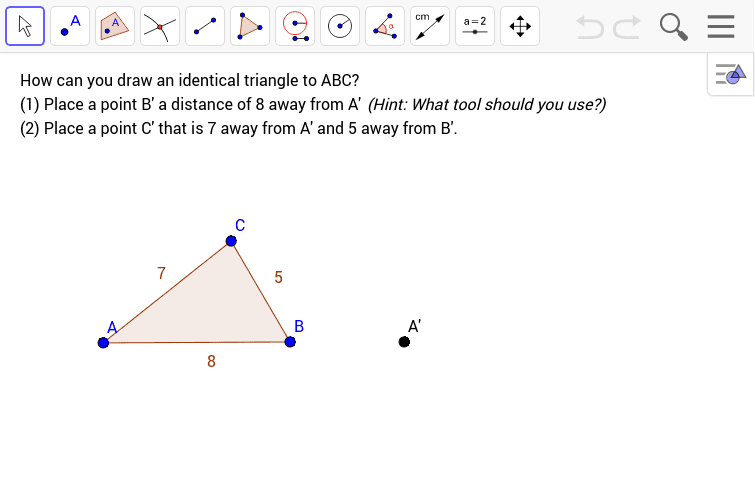 Copying a Triangle Press Enter to start activity