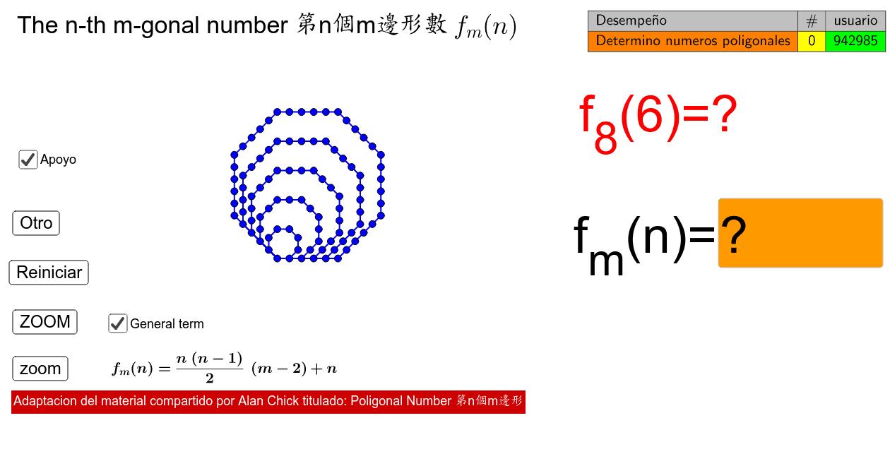 Obtener Números poligonales Presiona Intro para comenzar la actividad