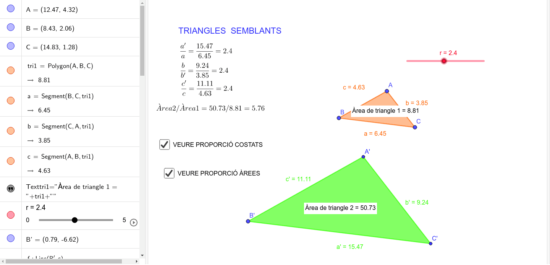 Al variar la raó (punt lliscant) pots observar com varien els valors dels costats i de l´àrea. Premeu Enter per iniciar l'activitat