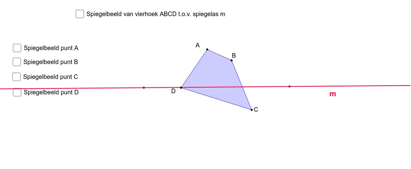 M4 p 54 Oef 6   Beeld van een vierhoek door een spiegeling Klik op Enter om de activiteit te starten