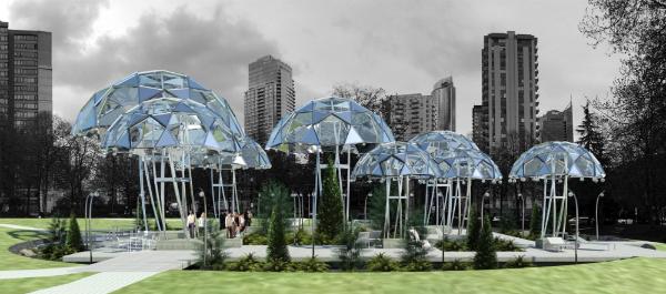Imagen de Mushroom Patch en Urban Rainforest por[url=http://www.siuarchitecture.com/]Siu Architecture[/url]. [url=https://urbanyvr.com/life-between-umbrellas-competition-2019]https://urbanyvr.com/life-between-umbrellas-competition-2019[/url]