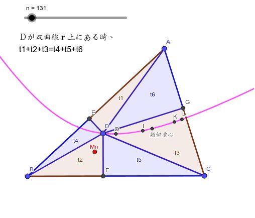 フェルマー三角形(六角形)の問題を考えていて、試しに三角形だとどうなるのか実験してみた。青と茶の面積が同じになるDはどこにあるか?