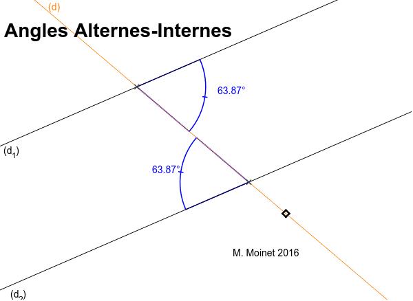 """Angles Alternes-Internes avec deux droites parallèles et une sécante Tapez """"Entrée"""" pour démarrer l'activité"""