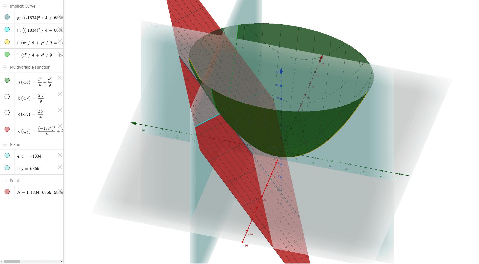 Possibilità di sezionare la superficie e di muovere il punto di tangenza oltre naturalmente variare la funzione .