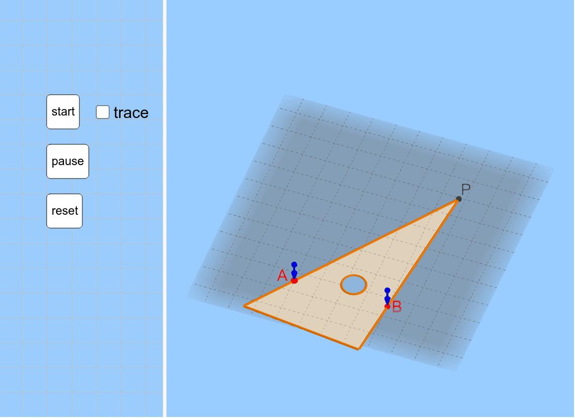 三角定規を2本のピンA,Bにあてながら動かしていくと、頂点Pは? ※右下のアイコンを押して画面を最適化してください。 ワークシートを始めるにはEnter キーを押してください。